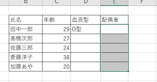 ドロップダウンリストを設定する範囲を選択
